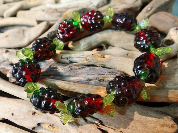 Lampwork Glass Forest Berry Berries Bracelet Stretch Leaf Leaves Acrylic Plastic Cute Picking Raspberry Blackberry Raspberries Blackberries