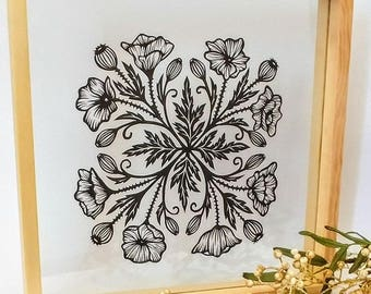 Original handcut poppy papercut artwork