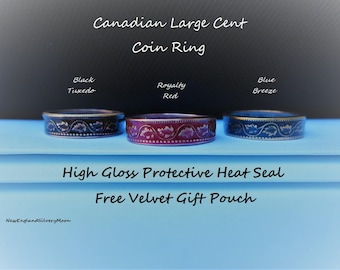 Canadian Large Cent Coin Ring-Protective High Gloss Seal-Free Velvet Gift Pouch