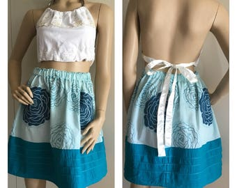 Vintage Style Handmade Skirt - Turquoise Rose - Embroidered Skirt - X-Small-Medium - FREE SHIPPING