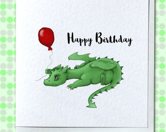 Cute Green Dragon Birthday Card - Customizable/Personalised Option