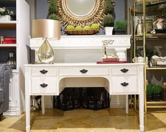 Bombay White Shabby Chic Traditional Style Desk