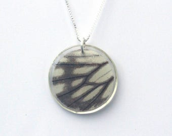 """Butterfly Disk Pendant 18"""" Sterling Silver Box chain"""