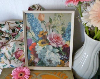 Vintage Floral Print, framed flower picture, roses, delphinium, in the style of Vernon Ward / Albert Williams etc