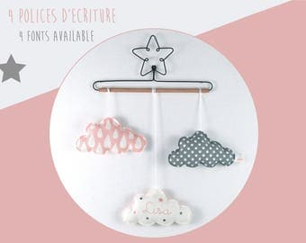 Star baby name and mobile clouds - wall hanging pink and grey cotton, wood and metal