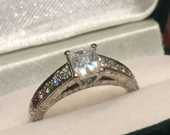 Princess Cut Diamond ring in 18K White Gold by Rosendorff with valuation.