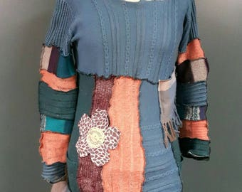 2017-042- hoodie dress eco boho upcycled fashion - size xl