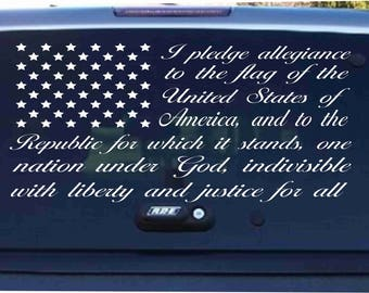 Pledge of Allegiance American Flag car decal