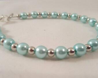 Baby Blue Pearl Bracelet - Dark Purple Pearl Bracelet - Pearl Bracelet - Blue Bracelet - Purple Bracelet - Pearl Jewelry - Bracelet - Blue