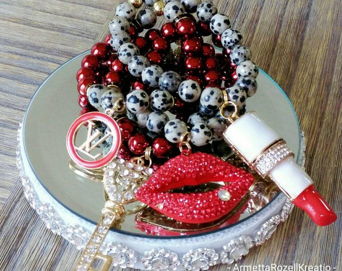 Designer Inspired Animal Print & Red Rhinestone Lips Charm Bracelet Set, anniversary gifts, birthday gift, mother's day gifts