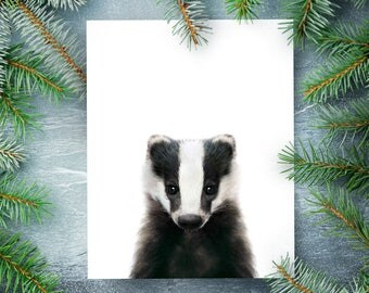 Badger print, Baby animals nursery, PRINTABLE nursery art, Kids room decor, Woodland animals, Forest animals, Animal nursery theme, Wall art