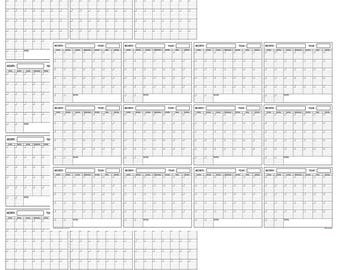 Large Yearly Wet Dry Erase Blank Reusable Undated Wall Calendar Planner For Office Academic Home