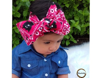 PAISLEY PUPS head wrap, fabric head wrap, baby headwrap, toddler headwrap, headwraps, newborn headwrap, baby headband, red headband
