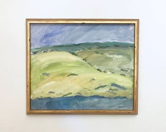 Rolling Hills Large Original Vintage Oil Painting Signed Framed