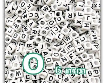 "cube alphabet ""O"" 6mm - letter beads 50 beads"