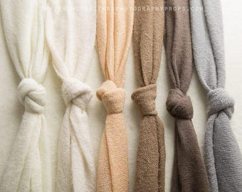 Fuzzy Knit Wrap, Neutral, Swaddle, Newborn Photography, Soft, Stretchy, Cocoon, Bundle, Ivory, Milky, Butterscotch, Biscuit, Nut, Smoke