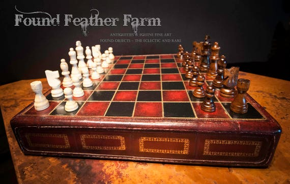 Vintage Leather Chess Board with Playing Pieces