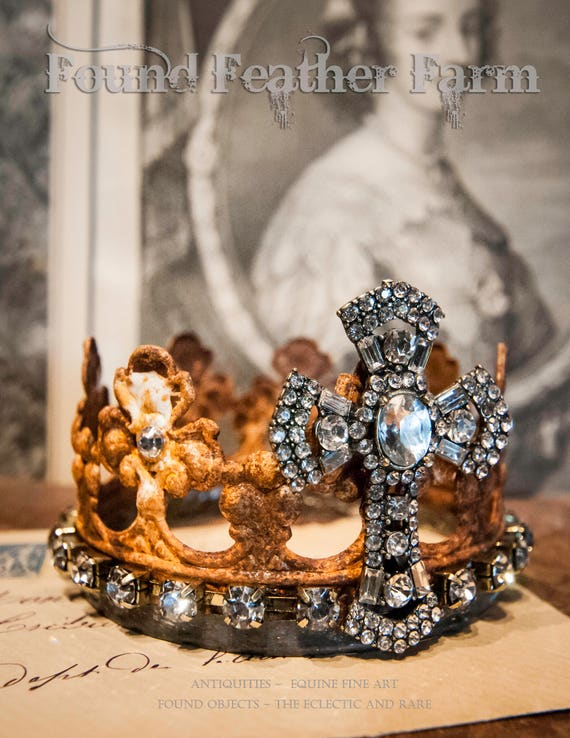 Handmade Crown of Rusted Metal Embellished with a Jeweled Rhinestone Cross