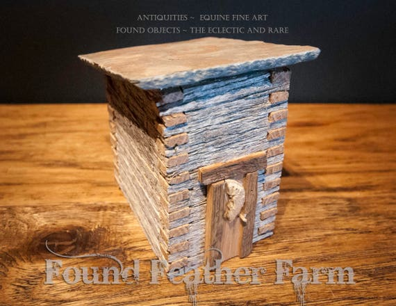 Handmade Vintage Primitive Log Outhouse