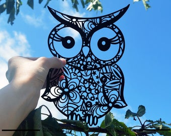 Owl paper cut svg / dxf / eps / files and pdf / png printable templates for hand cutting. Digital download. Commercial use ok.