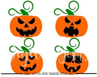 Pumpkins Fall / Autumn Halloween svg / dxf / eps / png files. Digital download. Compatible with Cricut and Silhouette machines.