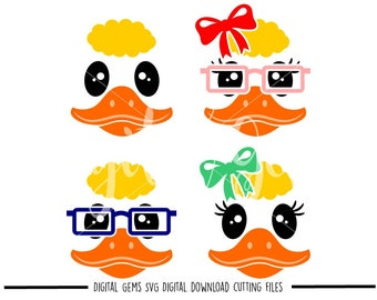 Duck faces svg / dxf / eps / png files. Digital download. Compatible with Cricut and Silhouette machines. Small commercial use ok.