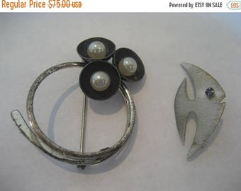 ON SALE 2 Vintage Brooches, Estate Beau Sterling Silver Brooch Pin and A & Z Sterling Brooch