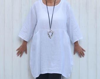 Lagenlook Clothing,UK 16-32 Womens Plus Size Shirt,Plus Size Tunic,Linen Top,Bohemian,Plus Size Linen, lus Size Clothing, 1X 2X 3X 4X, 9479