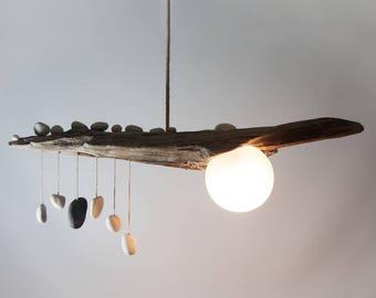 driftwood lighting. driftwood lamp with quartz pebble pendants globe glass shade handmade rustic ceiling light lighting h