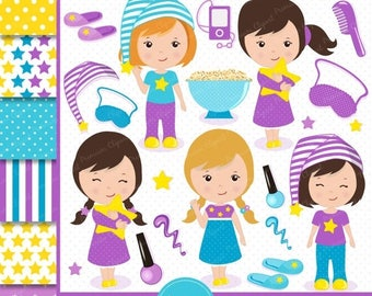 80% OFF SALE Sleepover party clipart, Pajama party clipart, Slumber clipart, Sleepover party clipart, Sleepover clipart, Sleepover - CL108