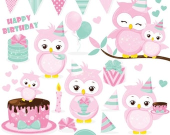 80% OFF SALE Birthday owl clipart, Pink owl clipart, Owl clip art, Birthday party, Owl graphics, Commercial use clipart - CA375