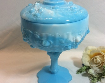 Vintage Fenton Blue Marble Slag Rose Covered Candy Dish With Lid # 9284-MB