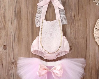 Baby girl pink and girl romper Tutu Set