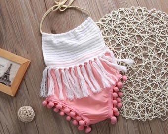 Pink and white tassel boho girl romper