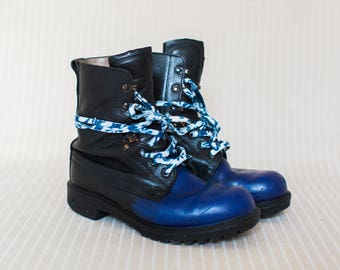 Womens/mens British Army Boots in Black and Blue Leather, Combat Boots, Military Boots, Grunge Metal Boots - Medium Signs of Wear