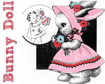 Vintage Bunny Doll Pattern PDF INSTANT DOWNLOAD Easter Toy Rabbit Pattern Vintage Doll Pattern Vintage Toy Pattern Plush Bunny Stuffed Bunny