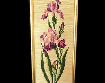 Vintage french needlepoint tapestry iris, floral pattern, framed needlepoint canvas with golden wooden frame