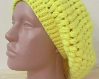 Crochet Spring yellow cap for girls / women, takes knitted spring, handmade