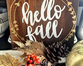 hello fall sign fall home decor fall sign welcome fall sign fall - Fall Home Decor