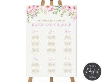 Floral Pink and Gold Wedding Seating Chart, Printable Guest Seating Plan or We Print, Wedding Signage, Peach Perfect Australia