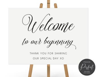 Printable Wedding Welcome Sign, Traditional, Calligraphy, Black and White, Free Colour Changes, DIY Digital We Print, Heavenly Script