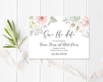 Floral Wedding Save the Date, Professionally Printed or Digital Printable File, Gemma Suite, Watercolour Flower Invitation
