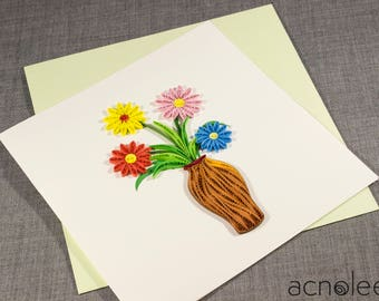 Quilled Card - Flowers in Vase
