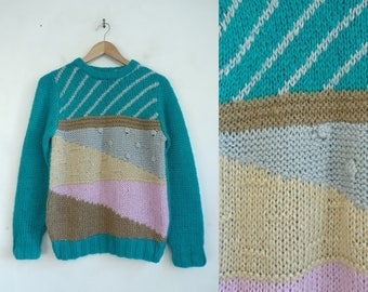 abstract sweater 80s chunky sweater retro striped colorful sweater hand knit geometric pullover crew neck womens jumper small
