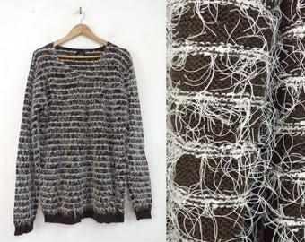 90s shag sweater cotton blend shaggy brown fuzzy sweater pullover v-neck sweater womens jumper medium