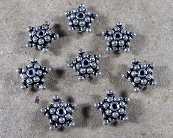 5 mm Granulated Oxidized Bali 925 Sterling Silver Bead Caps Bali Jewellery Supplies Spacers Beads Findings 7 pcs
