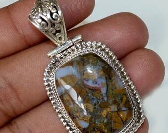"50% SALE Wonderful Solid Silver Natural Designer Agate Gemstone 925 Sterling Silver 16 gm - 2""inch Fashion Handmade Pendant Jewelry"