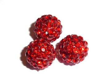 Pearl rhinestone 10 mm red Shamballa P010