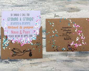 Pregnancy Reveal to grandparents card, custom pregnancy announcement card for grandma and grandpa, baby reveal gift new  grandchild