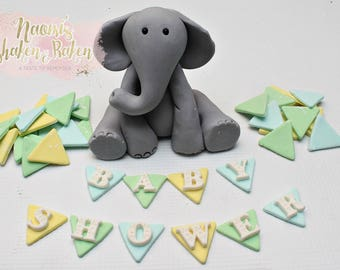 1x Edible Baby Shower Elephant fondant cake topper set 7-10cm